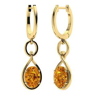 1.64 CTW Citrine Drops Earrings 18K Yellow Gold