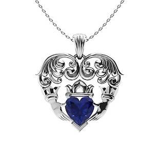 0.64 ctw Blue Sapphire Necklace 14K White Gold