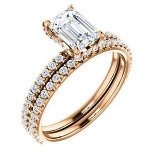 Natural 2.22 CTW Emerald Cut Halo Diamond Ring 14KT