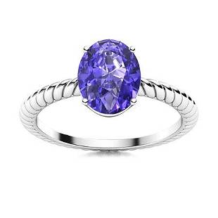 Natural 3.07 CTW Tanzanite Solitaire Ring 18K White