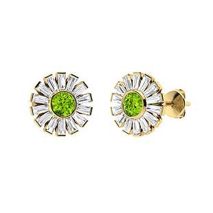 3.76 CTW Peridot & Diamond Halo Earrings 14K Yellow