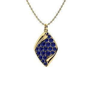 0.65 ctw Blue Sapphire Necklace 14K Yellow Gold