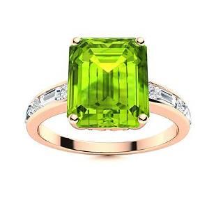 Natural 3.08 CTW Peridot & Diamond Engagement Ring 18K