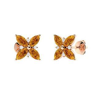 1.23 CTW Citrine Halo Earrings 18K Rose Gold
