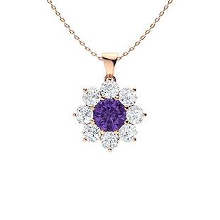 1.92 ctw Amethyst & Diamond Necklace 18K Rose Gold