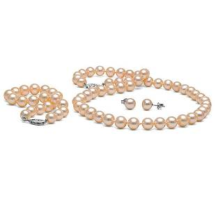 Pink Freshwater Pearl 3-Piece Jewelry Set, 7.5-8.0mm