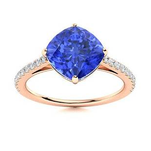 Natural 1.67 CTW Ceylon Sapphire & Diamond Engagement