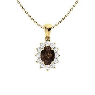 1.47 ctw Quartz & Diamond Necklace 18K Yellow Gold