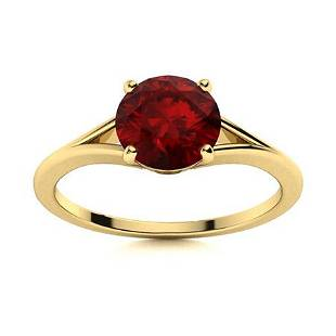 Natural 0.71 CTW Garnet Solitaire Ring 14K Yellow Gold