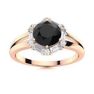 Natural 1.32 CTW Black & White Diamond Engagement Ring