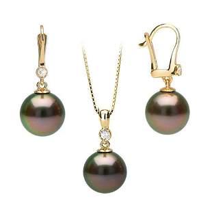 Black Tahitian Pearl and Diamond Bezel Dangle Earrings