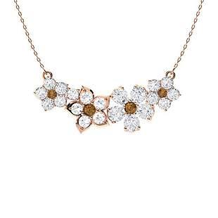 3.06 ctw White & Brown Diamond Necklace 14K Rose Gold