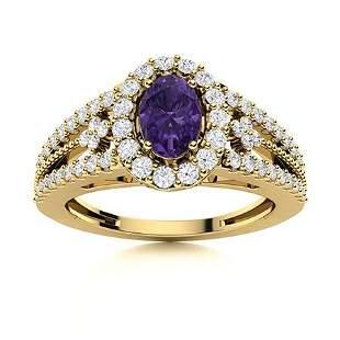 Natural 0.85 CTW Amethyst & Diamond Engagement Ring 14K