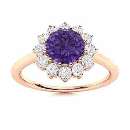 Natural 1.07 CTW Amethyst & Diamond Engagement Ring 14K