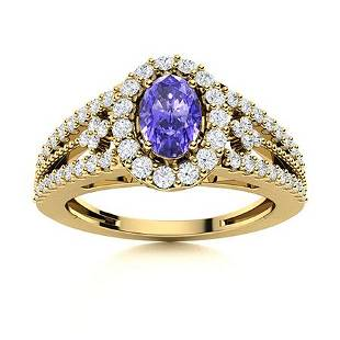 Natural 0.86 CTW Tanzanite & Diamond Engagement Ring