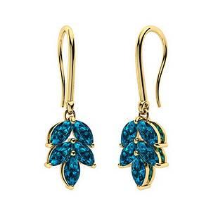 1.66 CTW London Blue Topaz Drops Earrings 18K Yellow