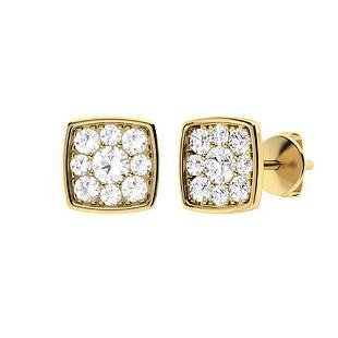 0.79 CTW Diamond Halo Earrings 14K Yellow Gold