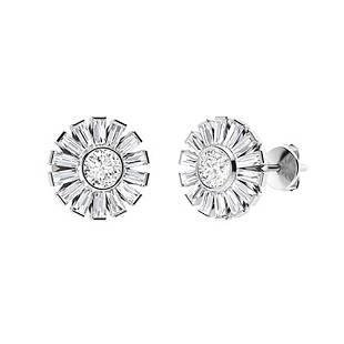 3.56 CTW Diamond Halo Earrings 14K White Gold