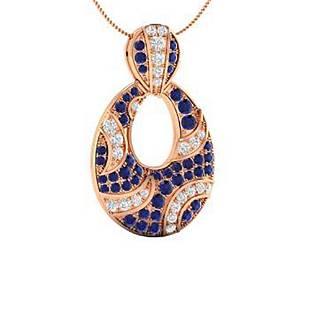 0.99 ctw Sapphire & Diamond Necklace 18K Rose Gold
