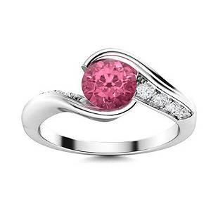 Natural 0.81 CTW Tourmaline & Diamond Engagement Ring