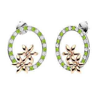 1.52 CTW Peridot & Diamond Halo Earrings 18K White Gold