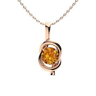 0.62 ctw Citrine Necklace 18K Rose Gold
