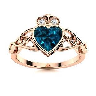 Natural 0.91 CTW Topaz & Diamond Engagement Ring 14K