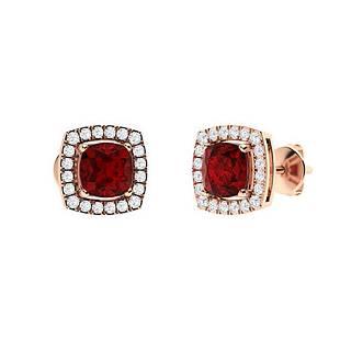 1.73 CTW Garnet & Diamond Halo Earrings 14K Rose Gold