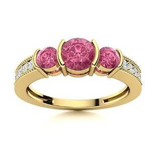 Natural 0.89 CTW Tourmaline & Diamond Engagement Ring