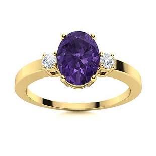 Natural 1.71 CTW Amethyst & Diamond Engagement Ring 14K