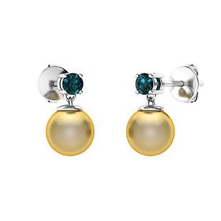 3.83 CTW Blue Diamond & Golden Pearl Drops Earrings 14K