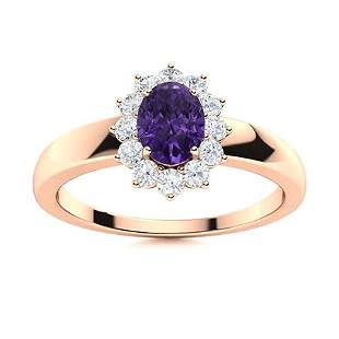 Natural 0.69 CTW Amethyst & Diamond Engagement Ring 14K
