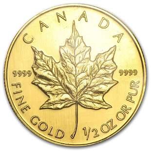 1993 Canada 1/2 oz Gold Maple Leaf BU