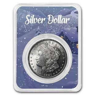 1921 Morgan Silver Dollar Winter Scene Card BU