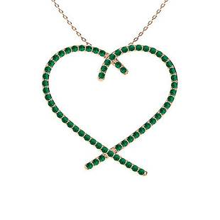 0.53 ctw Emerald Necklace 18K Rose Gold