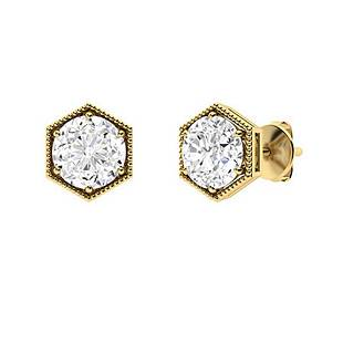 2.46 CTW White Topaz Studs Earrings 14K Yellow Gold