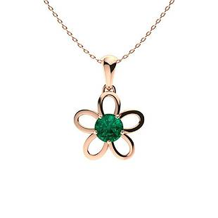 1.52 ctw Emerald Necklace 18K Rose Gold