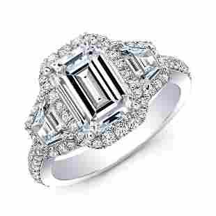 Natural 3.02 CTW Halo Emerald Cut & Trapezoids Diamond