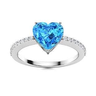 Natural 0.76 CTW Topaz & Diamond Engagement Ring 18K