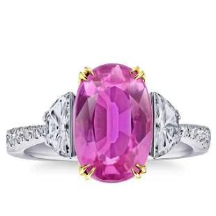 Natural 5.14 CT Pink Sapphire & Diamond Ring 18K White