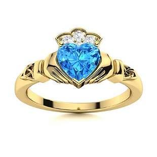 Natural 0.97 CTW Topaz & Diamond Engagement Ring 14K