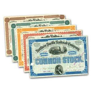 Northern Pacific Railroad Company Set (5 Stock