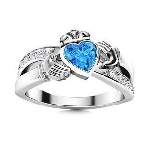 Natural 1.81 CTW Topaz & Diamond Engagement Ring 14K