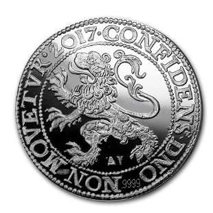 2017 Netherlands 1 oz Silver Proof Lion Dollar (w/Box &