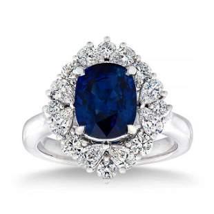 Natural 4.24 CT Blue Sapphire & Diamond Ring 14K White