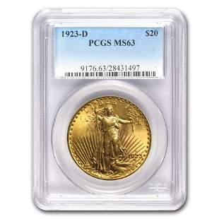 1923-D $20 Saint-Gaudens Gold Double Eagle MS-63 PCGS