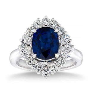 Natural 4.74 CT Blue Sapphire & Diamond Ring 14K White