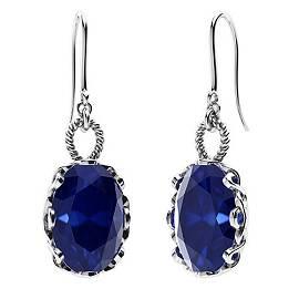 10.62 CTW Sapphire Drops Earrings 18K White Gold