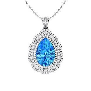 6.36 ctw Topaz & Diamond Necklace 14K White Gold