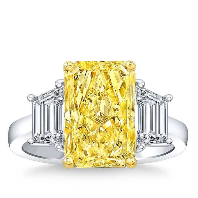 Natural 5 CT Diamond Engagement Ring 14K White Gold